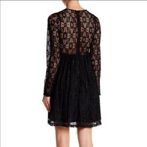 Wild Pearl Black Deep Plunge Lace Dress XS